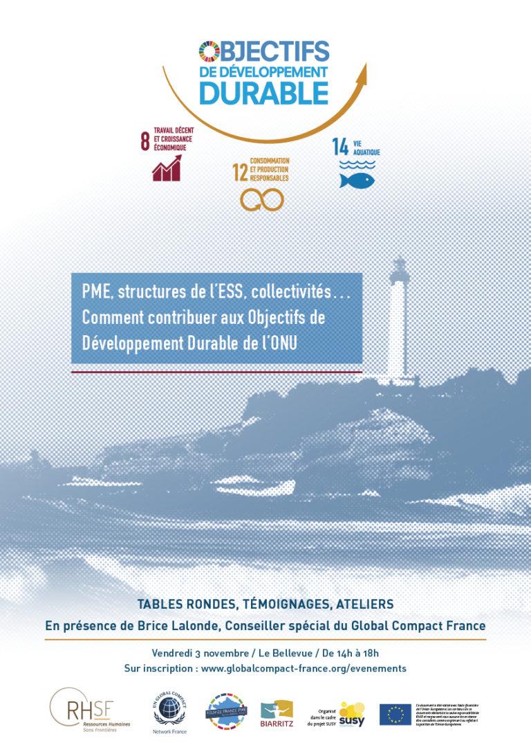 """Affiche de la conférence """"PME, structures de l'ESS, collectivités... comment contribuer aux objectifs du développement durable (ODD) de l'ONU ?"""""""