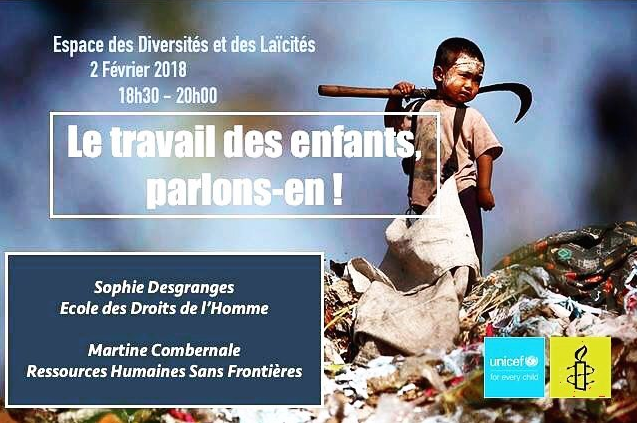 Promotional poster for the conference on child labour organised by Amnesty International Toulouse and Toulouse Unicef Campus