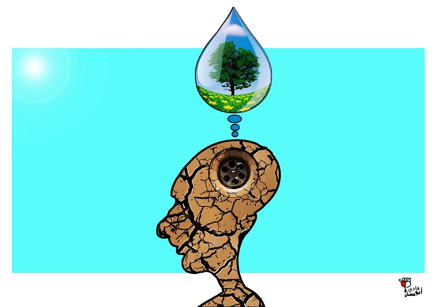 Drawing symbolising learning with a face sculpted into the earth and a drop of water above it to enrich it.