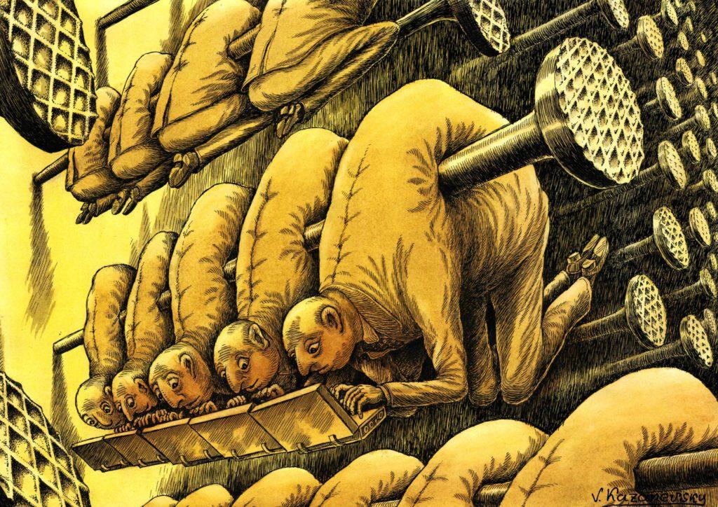 Travail forcé - crédits RHSF - dessin de Vladimir Kazanevski