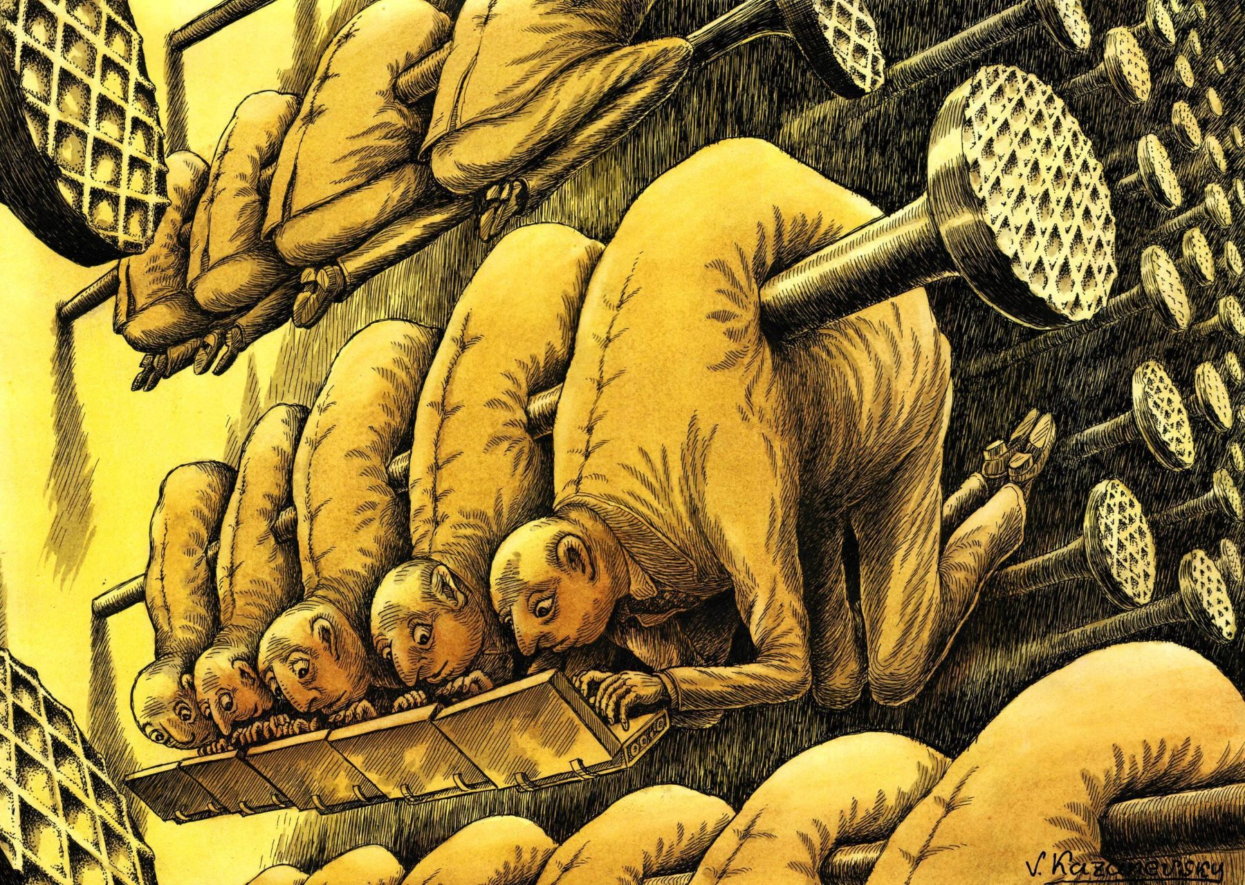 Drawing from the exhibition depicting forced labour